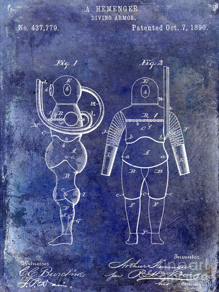 Diving Suit Photograph - 1890 Diving Armor Blue by Jon Neidert