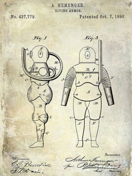 Diving Suit Photograph - 1890 Diving Armor Patent by Jon Neidert
