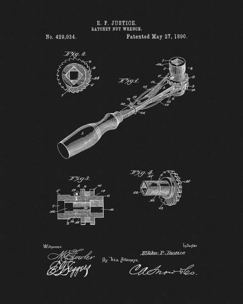 Adjustable Wrench Wall Art - Drawing - 1890 Ratchet Wrench Patent by Dan Sproul