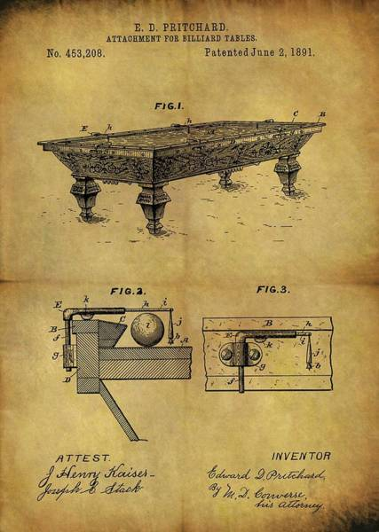 Drawing - 1891 Billiards Table Patent by Dan Sproul