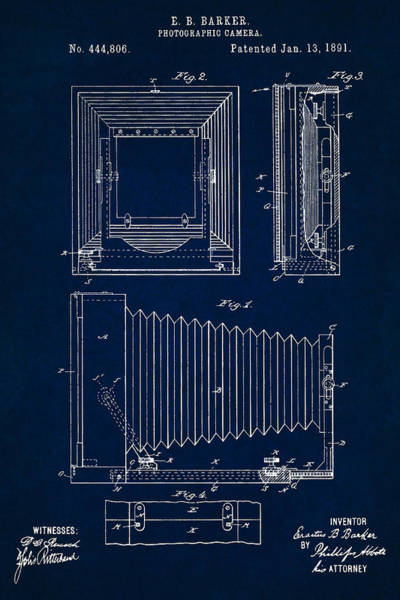 Digital Art - 1891 Camera Us Patent Invention Drawing - Dark Blue by Todd Aaron
