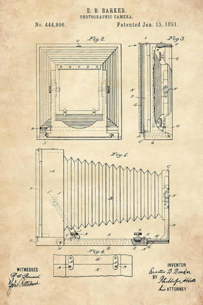 Digital Art - 1891 Camera Us Patent Invention Drawing - Vintage Tan by Todd Aaron