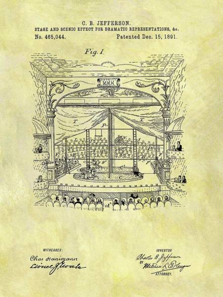 Wall Art - Drawing - 1891 Entertainment Stage Patent by Dan Sproul