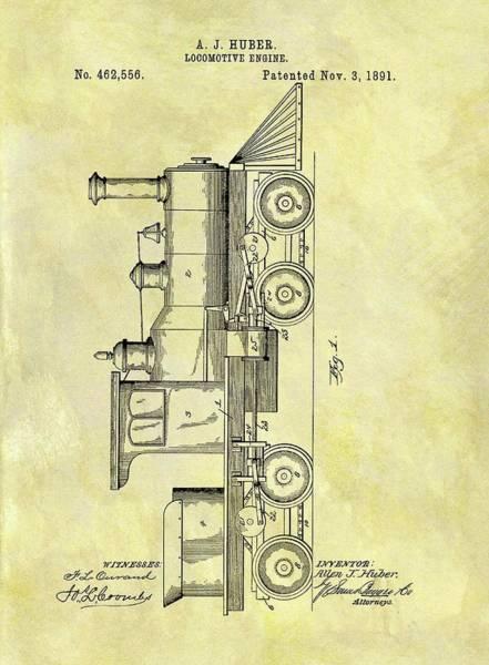 Locomotive Drawing - 1891 Locomotive Patent by Dan Sproul