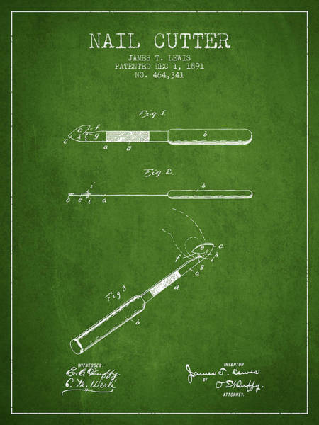 Fingernail Wall Art - Digital Art - 1891 Nail Cutter Patent - Green by Aged Pixel