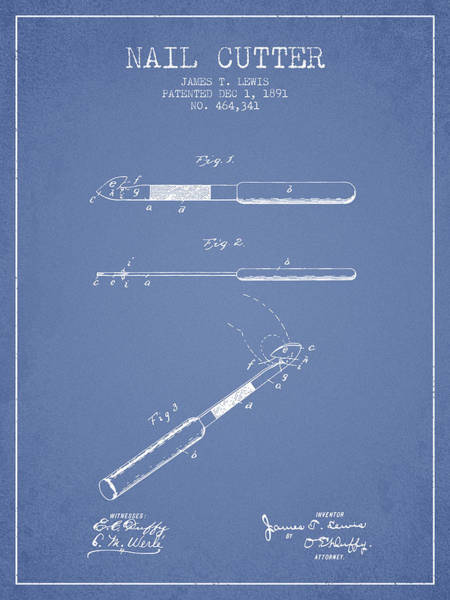 Fingernail Wall Art - Digital Art - 1891 Nail Cutter Patent - Light Blue by Aged Pixel