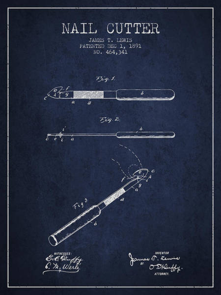 Fingernail Wall Art - Digital Art - 1891 Nail Cutter Patent - Navy Blue by Aged Pixel
