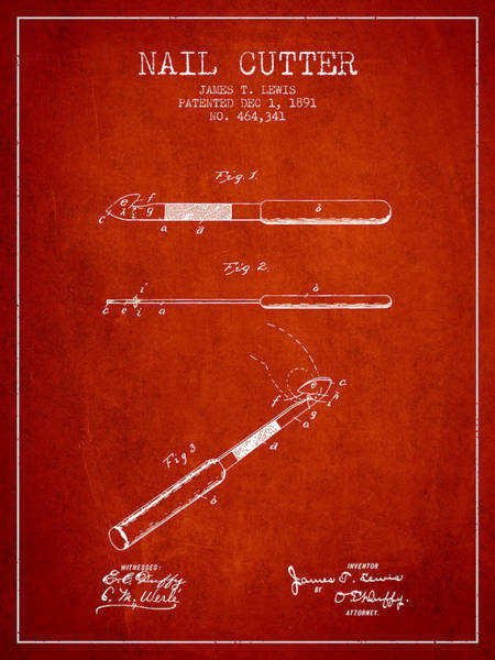 Fingernail Wall Art - Digital Art - 1891 Nail Cutter Patent - Red by Aged Pixel