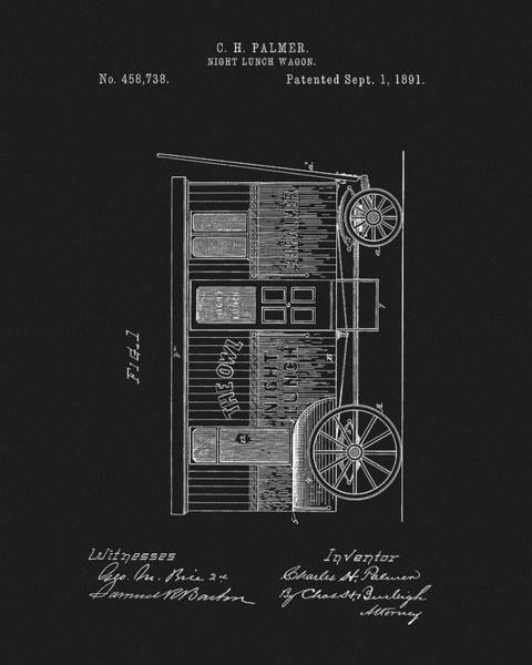 Wall Art - Mixed Media - 1891 Night Lunch Wagon Patent by Dan Sproul