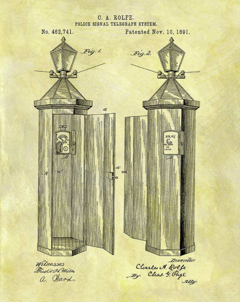 Mixed Media - 1891 Police Call Box Patent by Dan Sproul