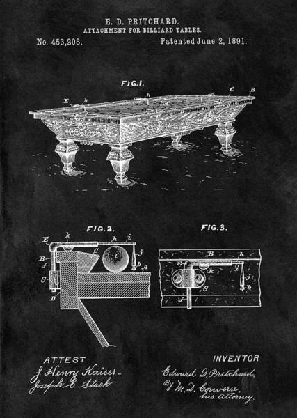 Drawing - 1891 Pool Table Patent by Dan Sproul
