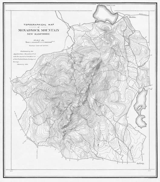 Digital Art - 1891 Topographical Map Of Mount Monadnock Jaffrey Nh Black And White by Toby McGuire
