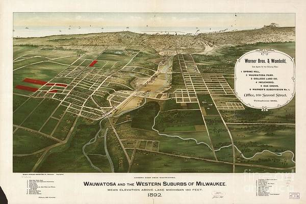 Painting - 1892 Aerial Map Of Wauwatosa Wisconsin by Celestial Images