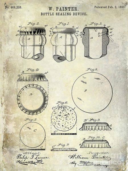 Brewing Photograph - 1892 Bottle Cap Patent  by Jon Neidert
