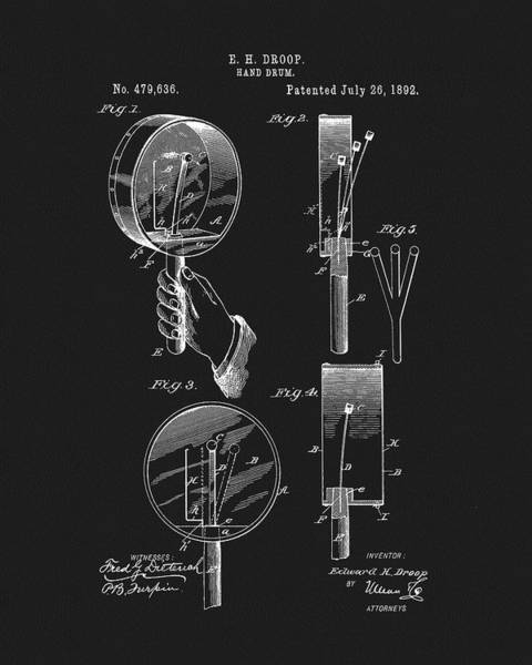 Mixed Media - 1892 Hand Drum Patent by Dan Sproul