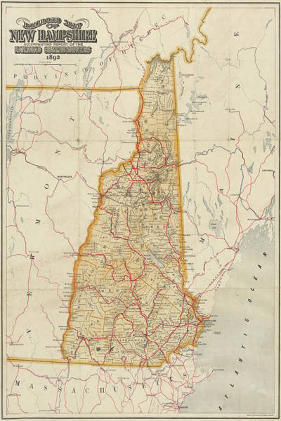 Digital Art - 1892 Railroad Commissioners Map Nh by Toby McGuire