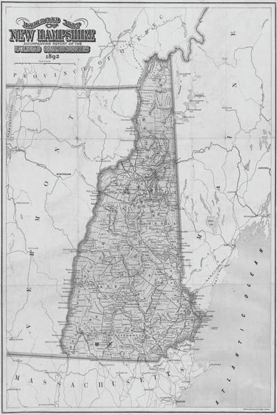 Digital Art - 1892 Railroad Commissioners Map Nh Black And White by Toby McGuire
