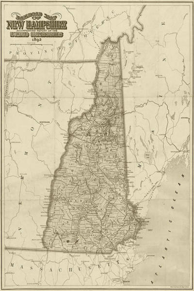 Digital Art - 1892 Railroad Commissioners Map Nh Sepia by Toby McGuire