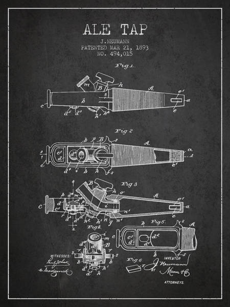 Brewery Digital Art - 1893 Ale Tap Patent - Charcoal by Aged Pixel