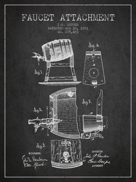 Brewery Digital Art - 1893 Faucet Attachment Patent - Charcoal by Aged Pixel