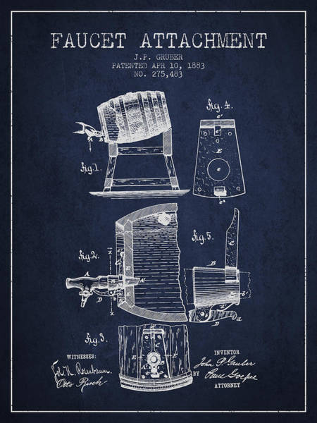 Brewery Digital Art - 1893 Faucet Attachment Patent - Navy Blue by Aged Pixel