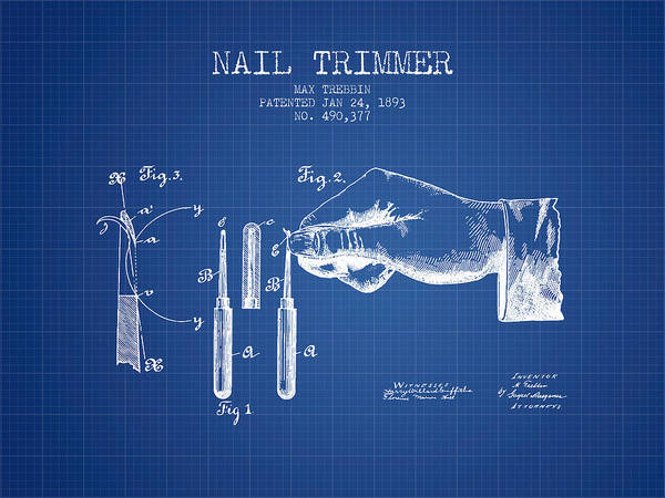 Fingernail Wall Art - Digital Art - 1893 Nail Trimmer Patent - Blueprint by Aged Pixel