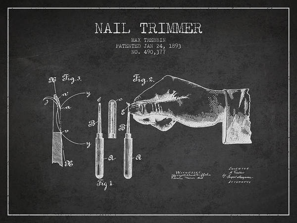 Fingernail Wall Art - Digital Art - 1893 Nail Trimmer Patent - Charcoal by Aged Pixel
