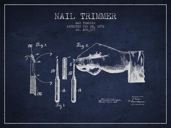 Fingernail Wall Art - Digital Art - 1893 Nail Trimmer Patent - Navy Blue by Aged Pixel