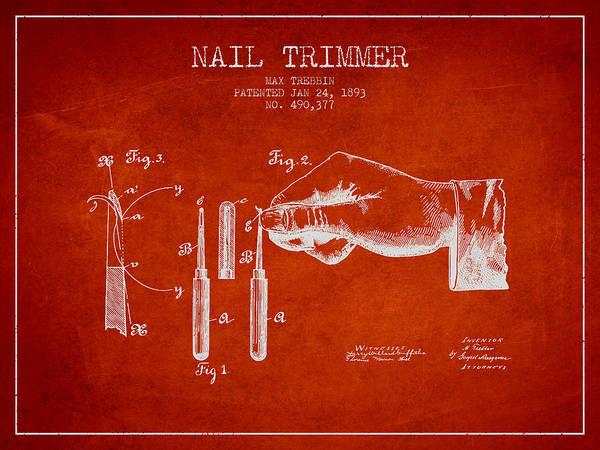Fingernail Wall Art - Digital Art - 1893 Nail Trimmer Patent - Red by Aged Pixel