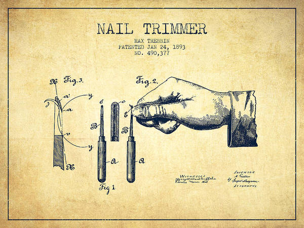 Fingernail Wall Art - Digital Art - 1893 Nail Trimmer Patent - Vintage by Aged Pixel