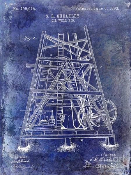 Wall Art - Photograph - 1893 Oil Well Rig Patent Blue by Jon Neidert