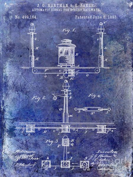 Rr Photograph - 1893 Street Railway Signal Patent Blue by Jon Neidert