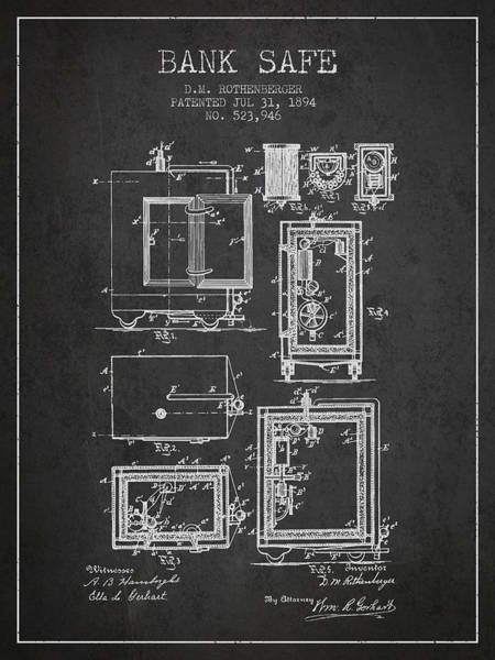 Banking Digital Art - 1894 Bank Safe Patent - Charcoal by Aged Pixel