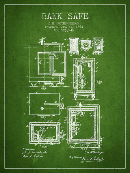 Banking Digital Art - 1894 Bank Safe Patent -green by Aged Pixel