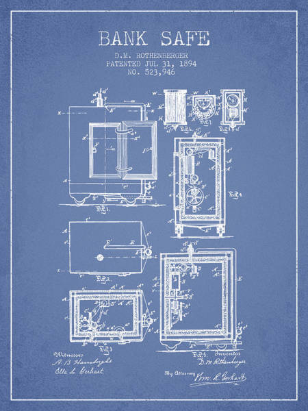 Banking Digital Art - 1894 Bank Safe Patent -light Blue by Aged Pixel