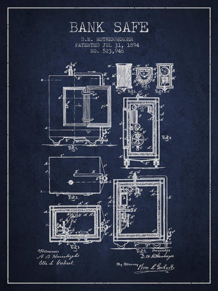 Banking Digital Art - 1894 Bank Safe Patent - Navy Blue by Aged Pixel