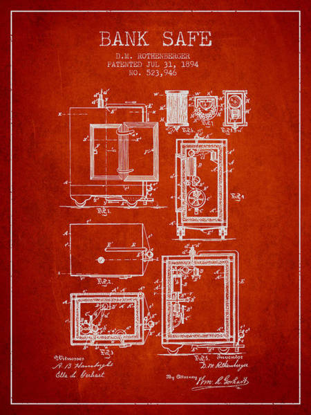 Banking Digital Art - 1894 Bank Safe Patent - Red by Aged Pixel