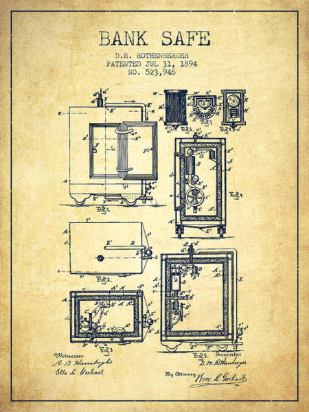 Banking Digital Art - 1894 Bank Safe Patent - Vintage by Aged Pixel
