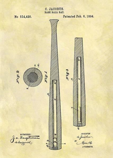 Babe Drawing - 1894 Baseball Bat Patent by Dan Sproul