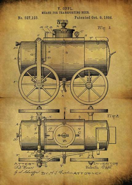 Beer Mixed Media - 1894 Beer Wagon Patent by Dan Sproul