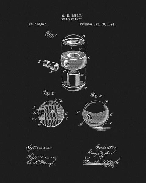 Pool Mixed Media - 1894 Billiards Ball Patent by Dan Sproul