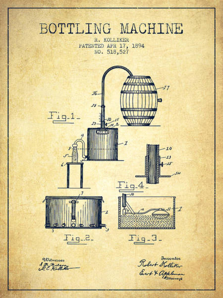 Brewery Digital Art - 1894 Bottling Machine Patent - Vintage by Aged Pixel