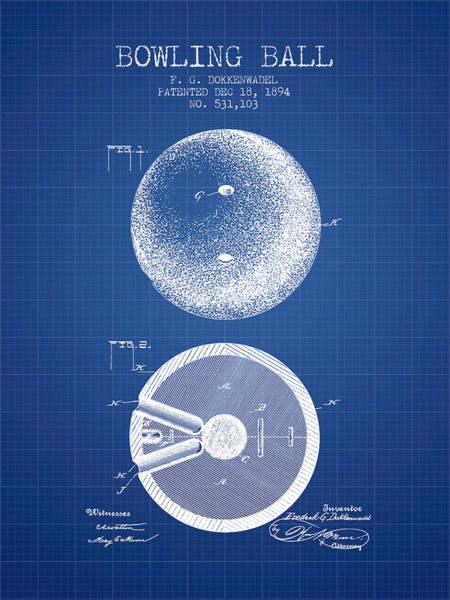 Petanque Wall Art - Digital Art - 1894 Bowling Ball Patent - Blueprint by Aged Pixel