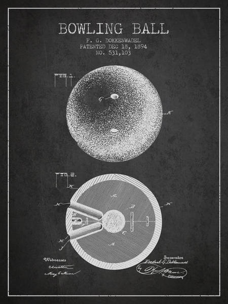 Bowling Ball Wall Art - Digital Art - 1894 Bowling Ball Patent - Charcoal by Aged Pixel