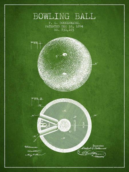 Petanque Wall Art - Digital Art - 1894 Bowling Ball Patent - Green by Aged Pixel