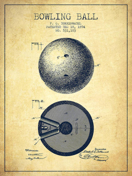 Bowling Ball Wall Art - Digital Art - 1894 Bowling Ball Patent - Vintage by Aged Pixel