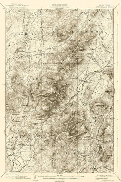 Digital Art - 1894 Lake Placid Geological Survey Map Adirondacks Sepia by Toby McGuire