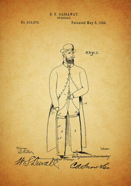 Clothing Mixed Media - 1894 Overcoat Patent by Dan Sproul