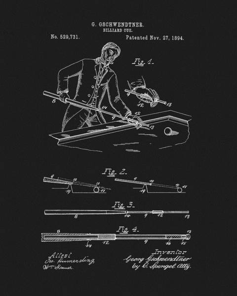 Pool Mixed Media - 1894 Pool Cue Patent by Dan Sproul