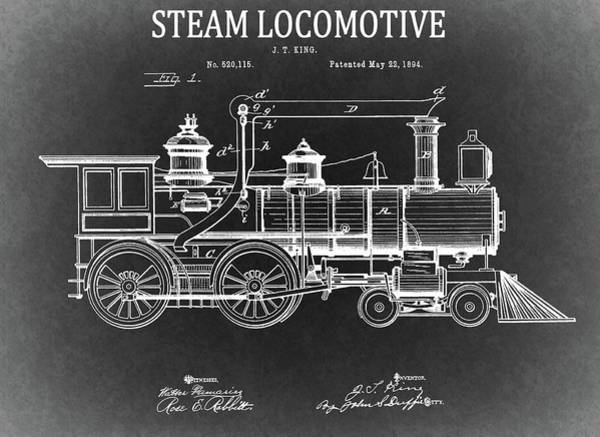 Drawing - 1894 Steam Locomotive Blueprint by Dan Sproul